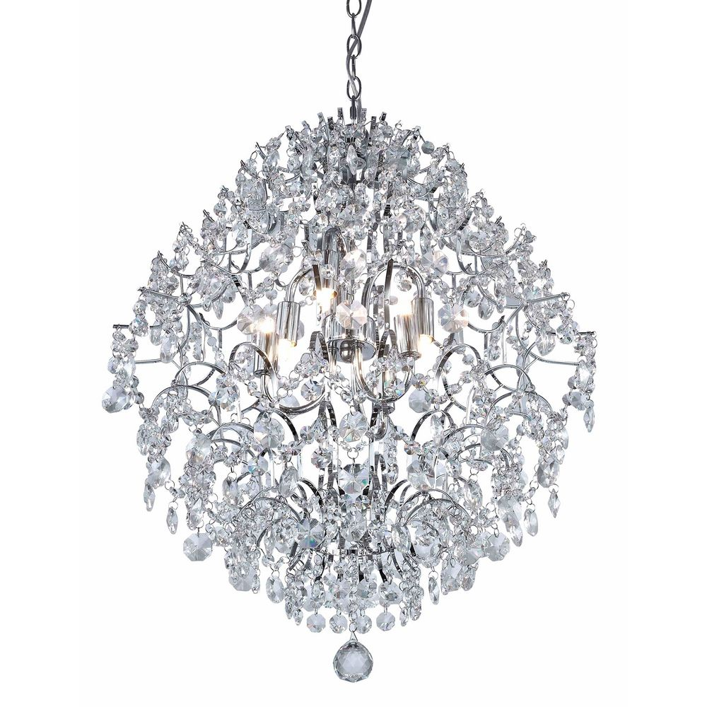 Light Crystal Pendant Chandelier Light In Chrome Finish With Crystal