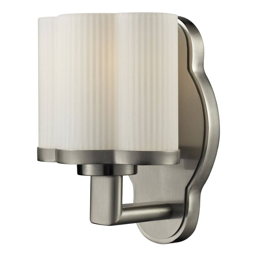 Wall Sconce White Glass : Sconce Wall Light with White Glass in Satin Nickel Finish 84095/1 Destination Lighting