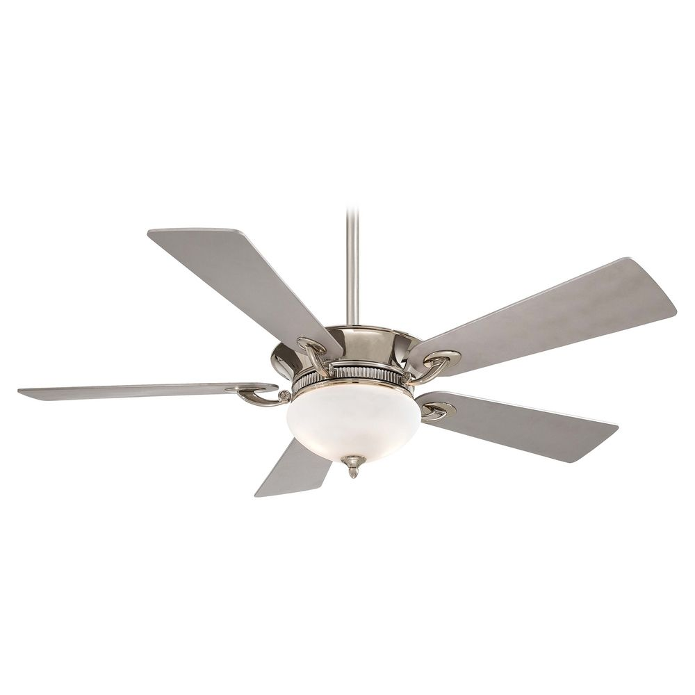 52-Inch Ceiling Fan with Light with White Gl in Polished Nickel with on