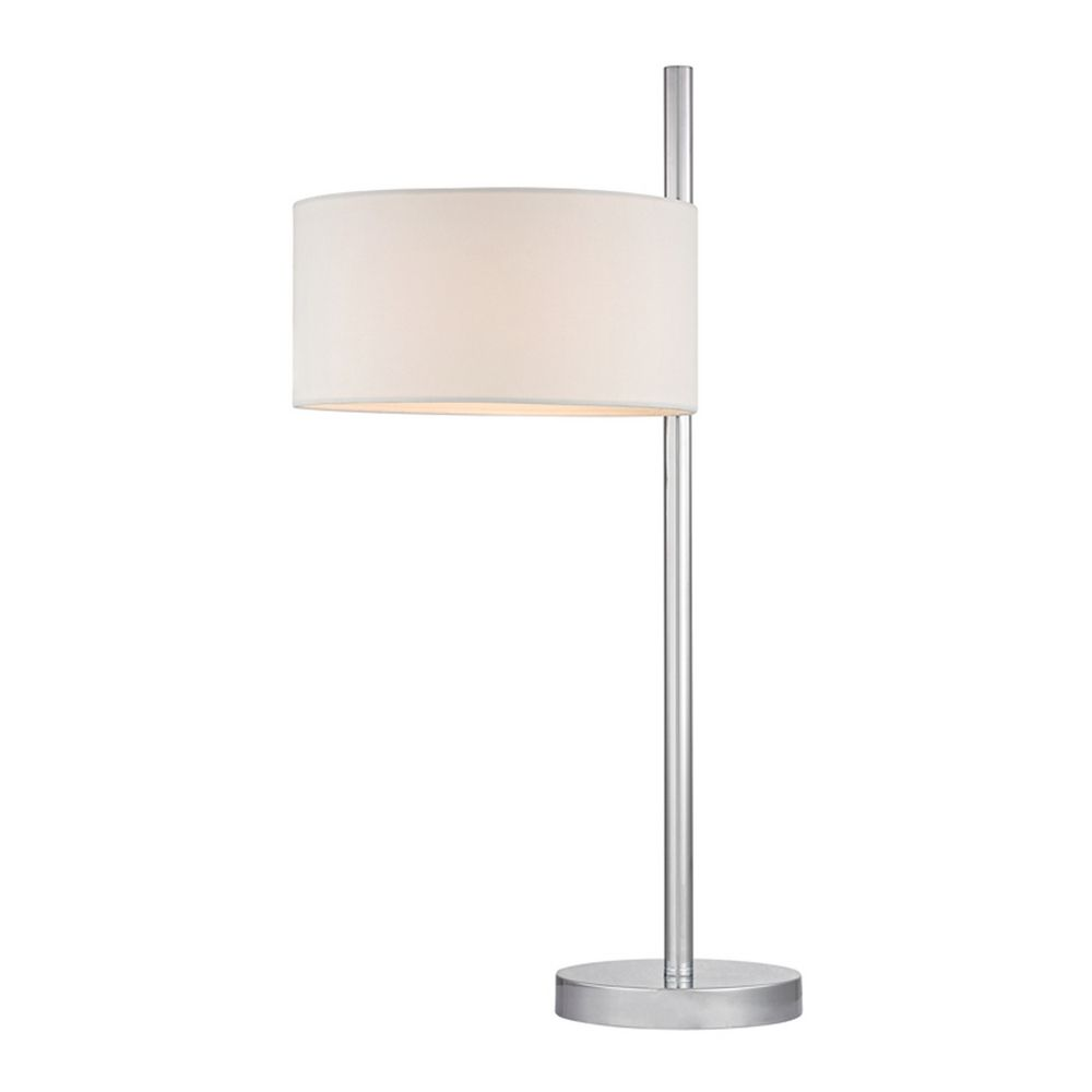 Modern led table lamp with white shades in polished nickel for Modern led table lamps