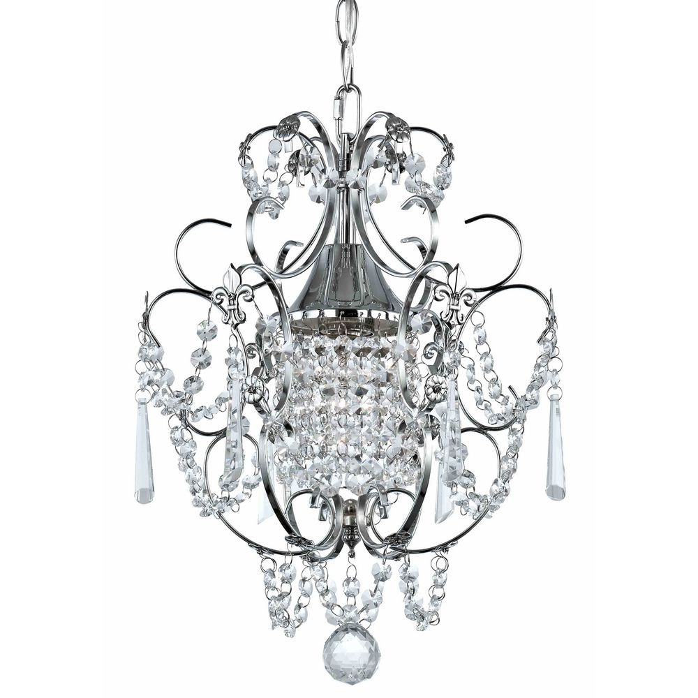 Crystal Mini-Chandelier Pendant Light in Chrome Finish | 2233-26 ...