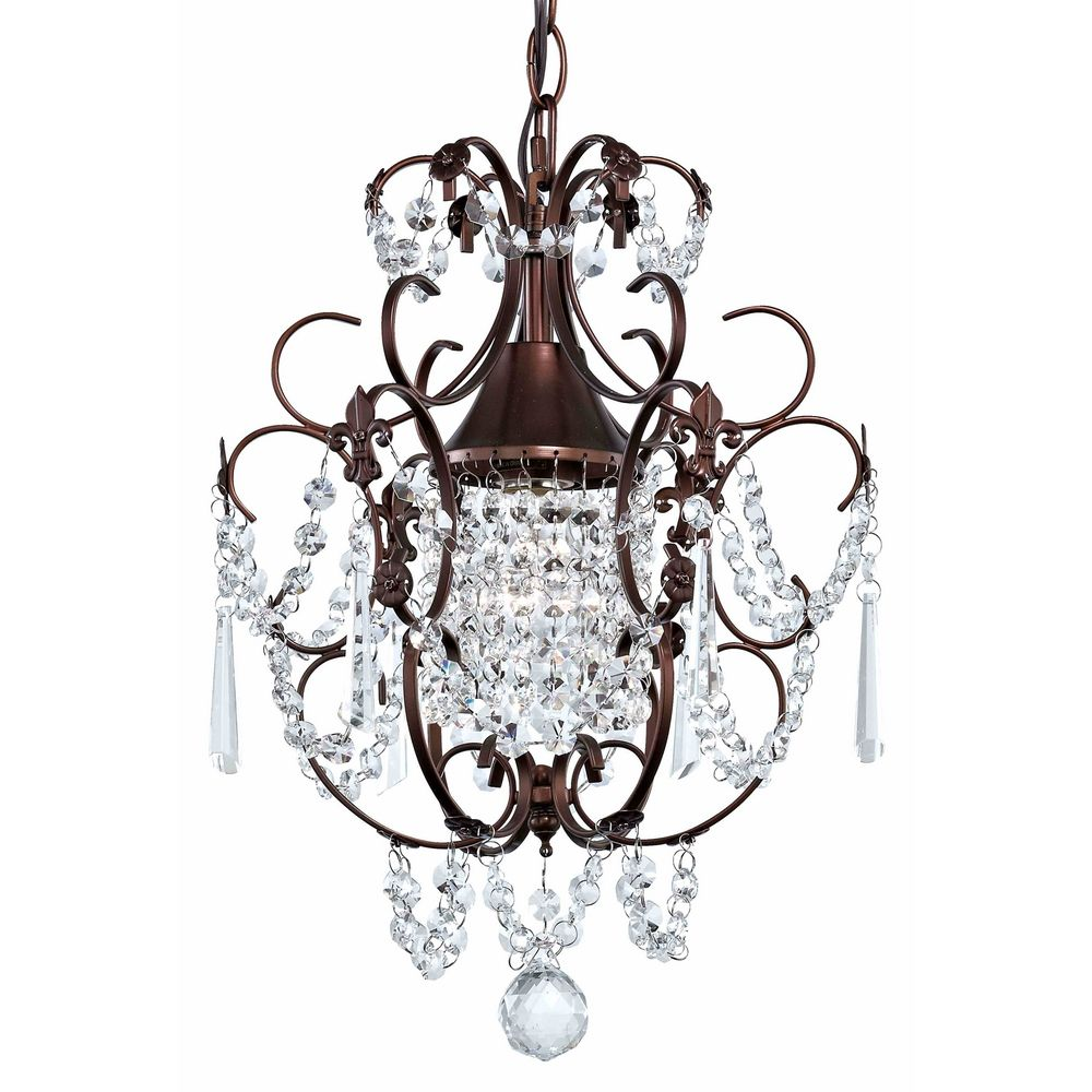 Crystal Mini Chandelier Pendant Light In Bronze Finish