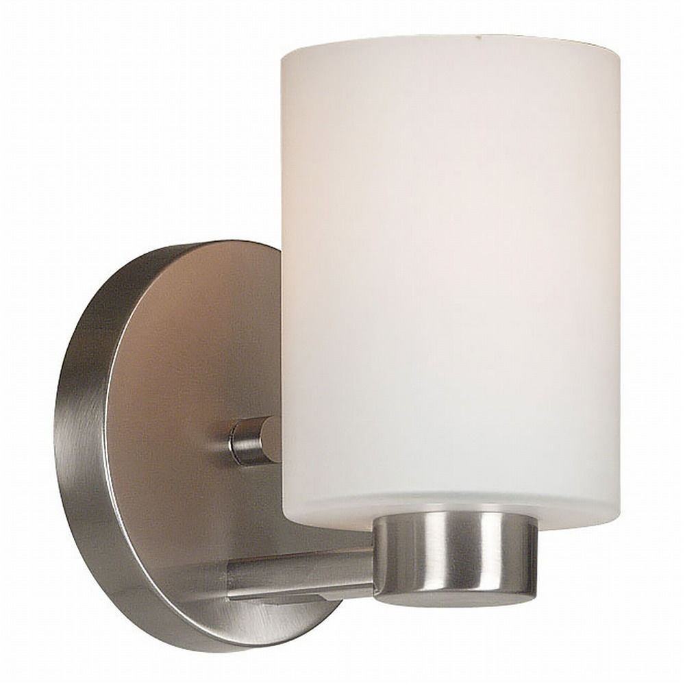 Modern Sconce Wall Light with White Glass in Brushed Steel Finish 10181BS Destination Lighting
