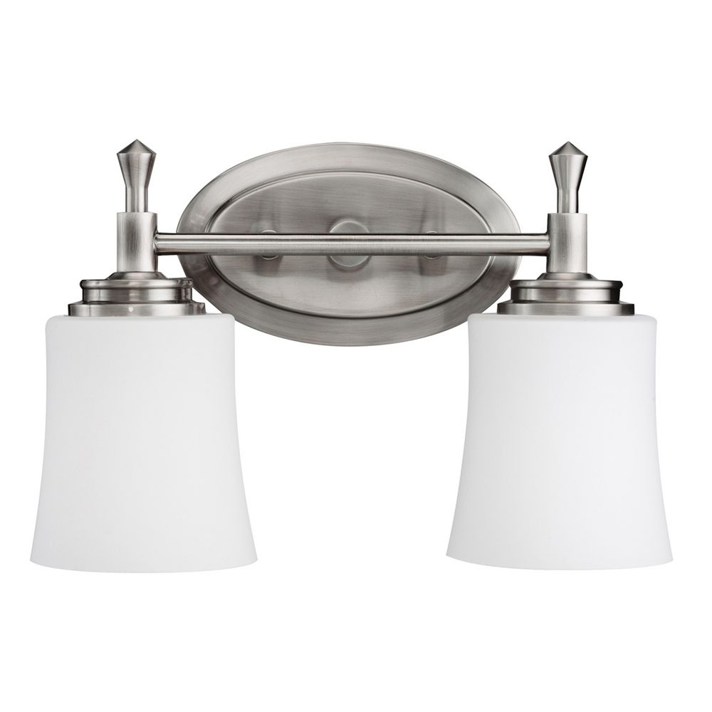 Kichler bathroom light with white glass in brushed nickel for Brushed nickel lighting for bathroom