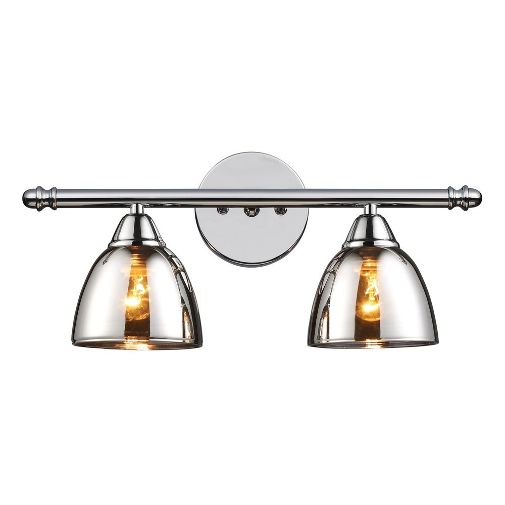 Modern bathroom light with chrome glass in polished chrome for Modern chrome bathroom vanity lighting
