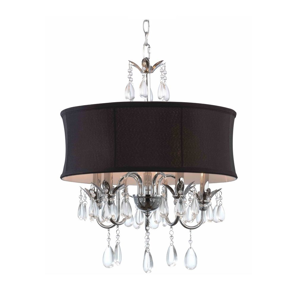 black drum shade crystal chandelier pendant light | 2234 bk