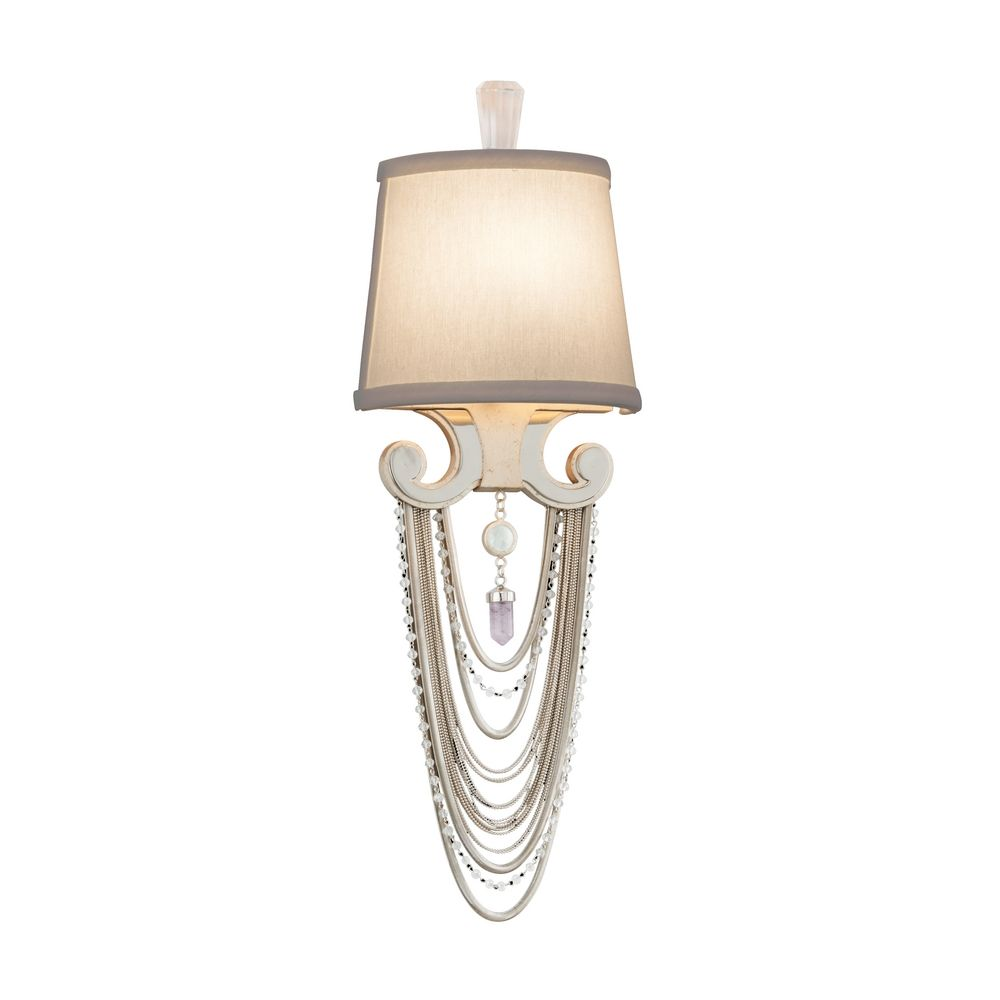 Beaded Crystal Wall Sconces : Crystal Beaded Wall Sconce Light in Modern Silver Finish 157-11 Destination Lighting