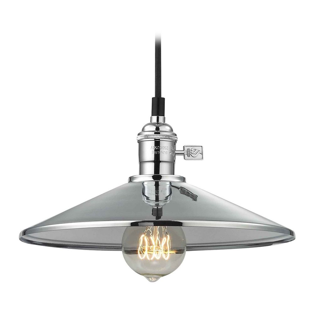 retro hoyt polished chrome cone shade mini pendant light ebay. Black Bedroom Furniture Sets. Home Design Ideas