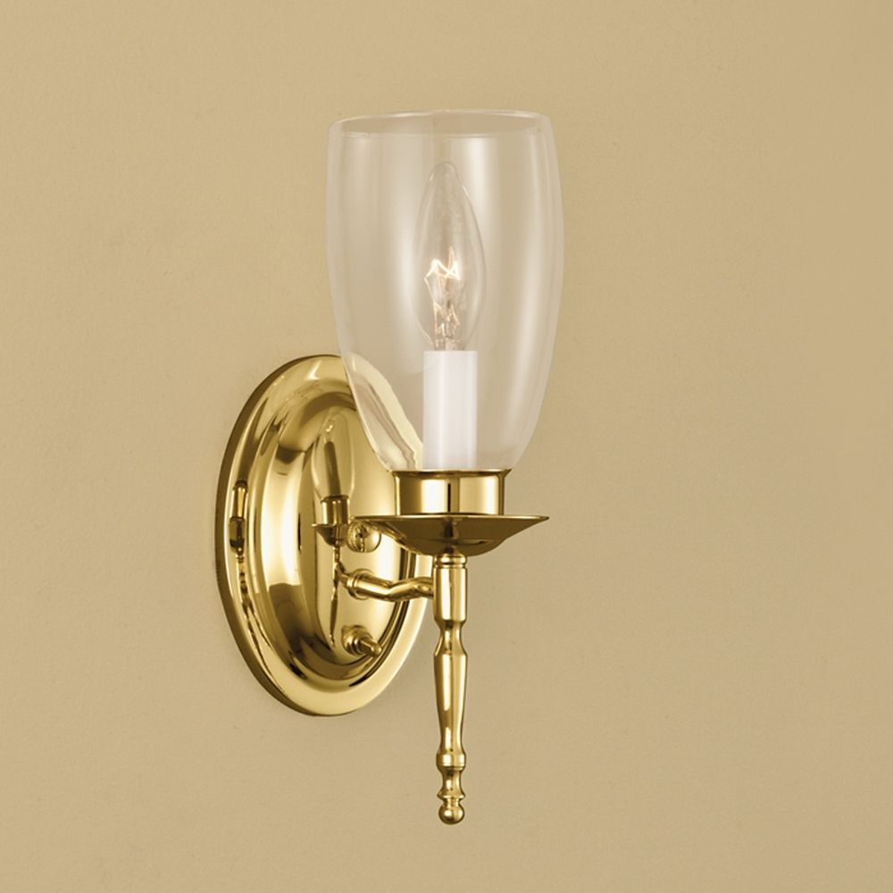 Brass Wall Sconce With Switch : Norwell Lighting Legacy Polished Brass Sconce 3306-PB-CL Destination Lighting