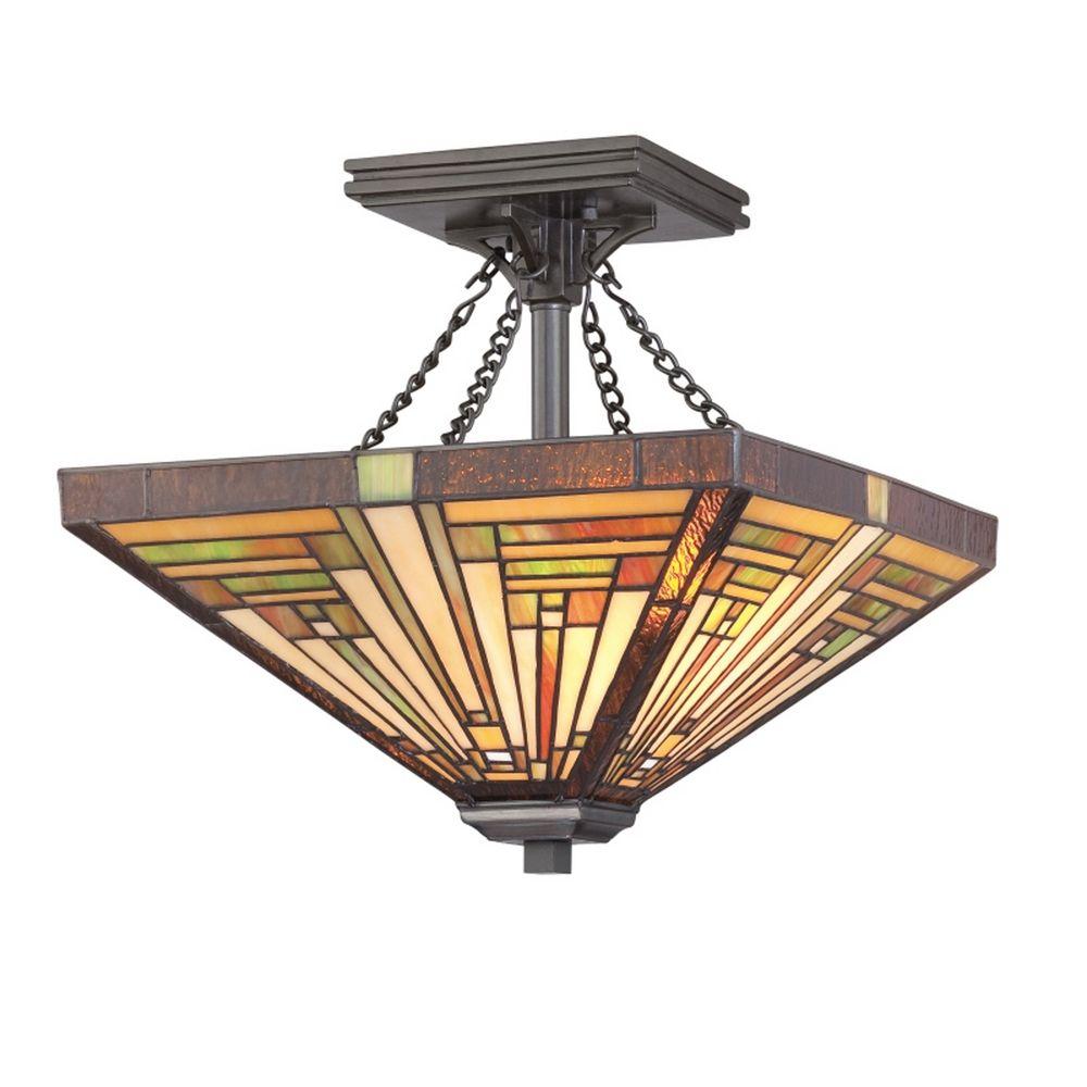 Two-Light Tiffany Semi-Flushmount Ceiling Light