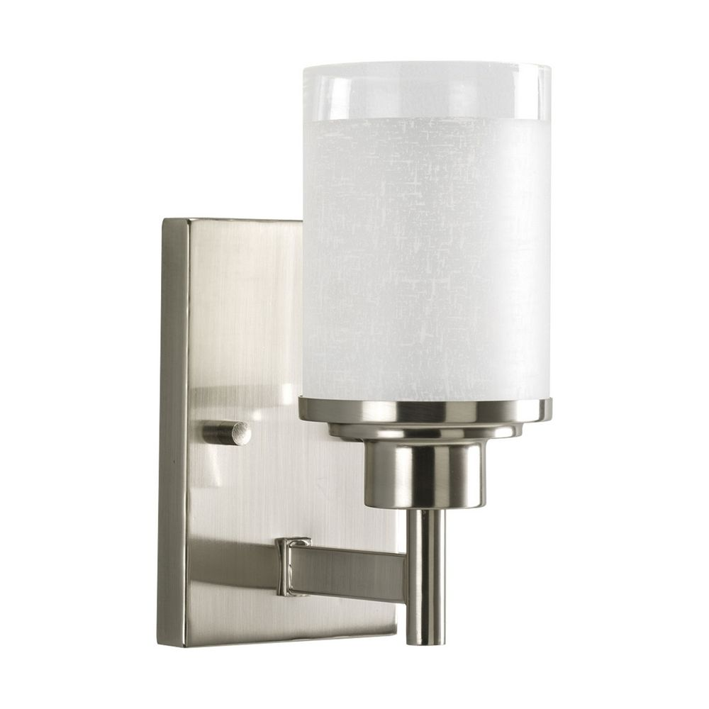 Progress Modern Sconce Wall Light with White Glass P2959-09 Destination Lighting