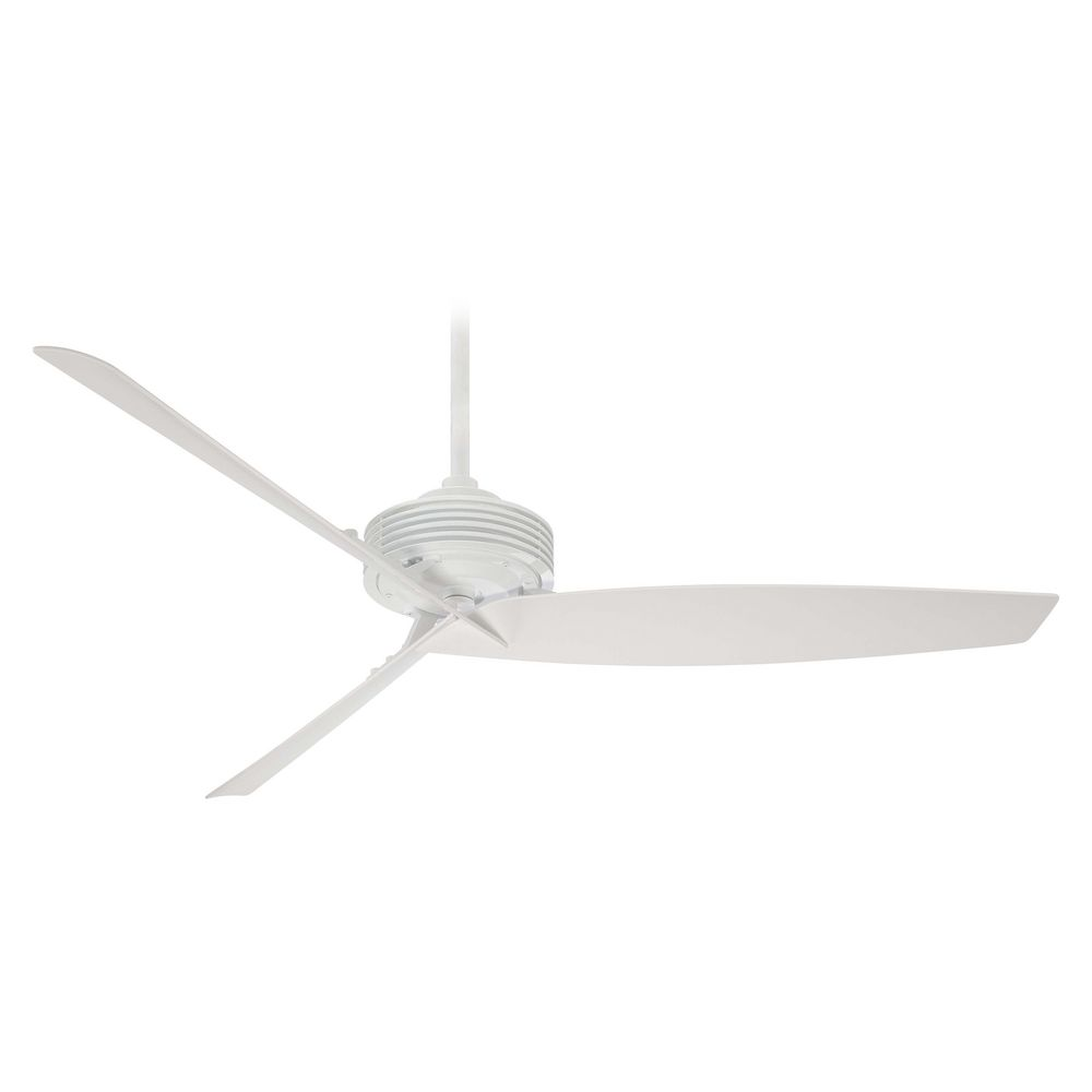 modern ceiling fan without light in white finish | f733-wh