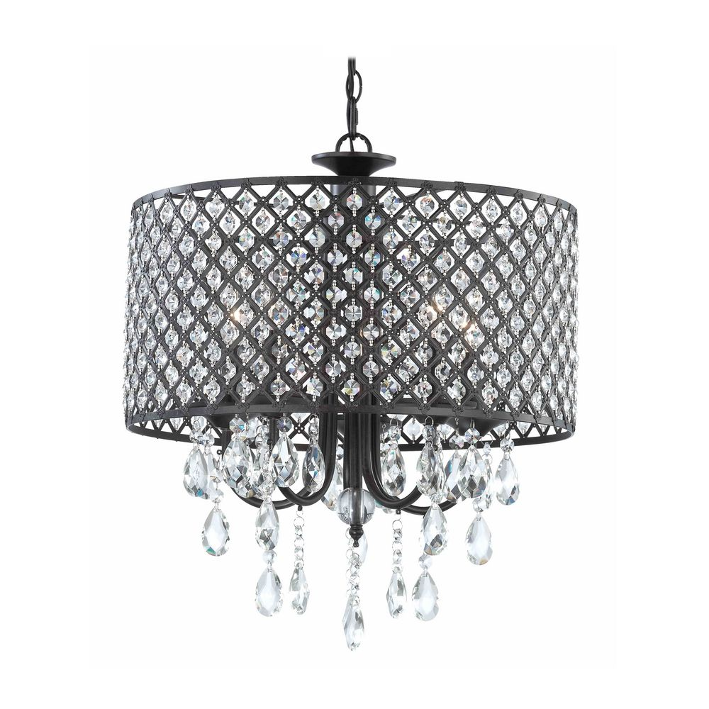 Crystal Chandelier Pendant Light With Beaded Drum Shade At Destination Lighting