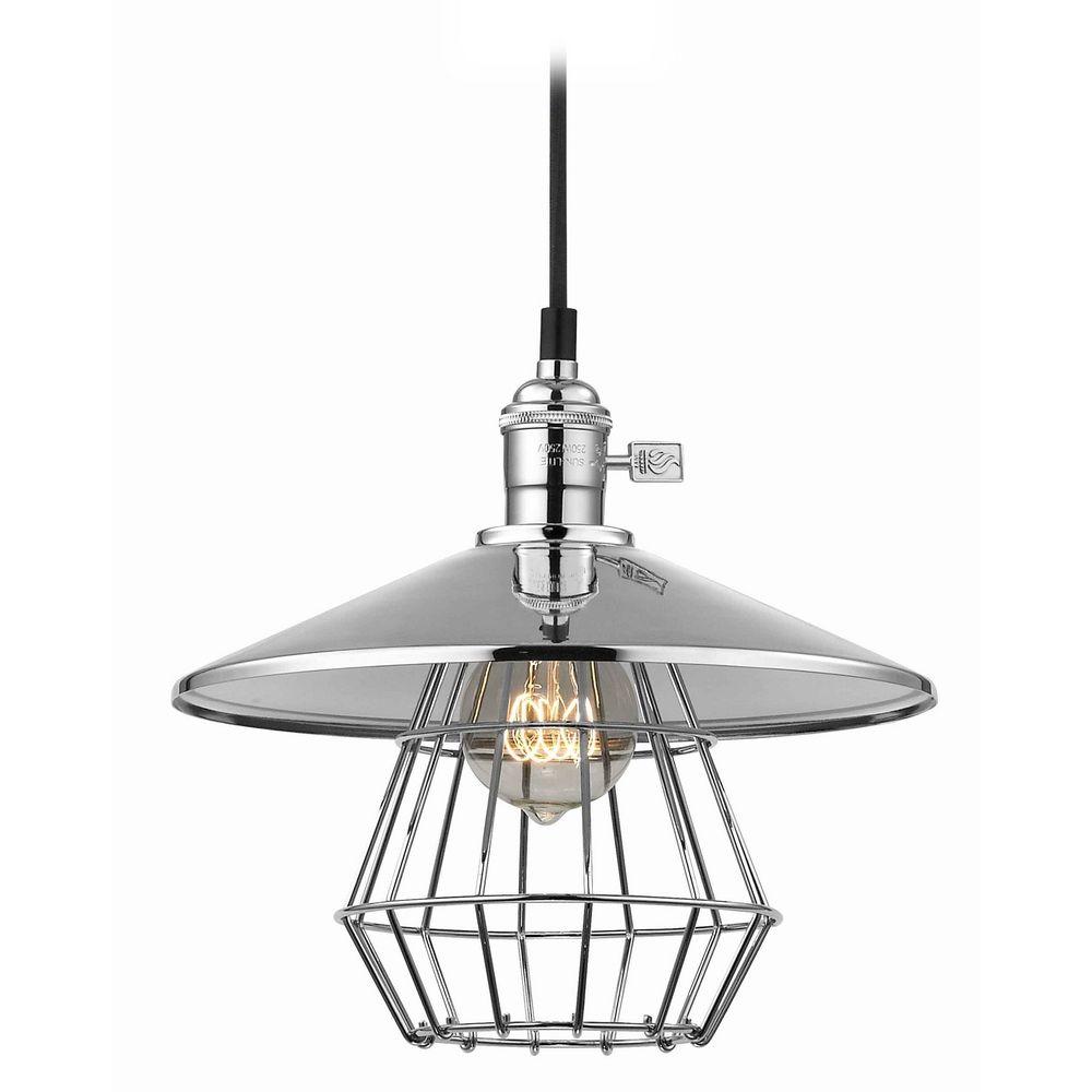 vintage hoyt polished chrome cone shade mini pendant light with cage ebay. Black Bedroom Furniture Sets. Home Design Ideas