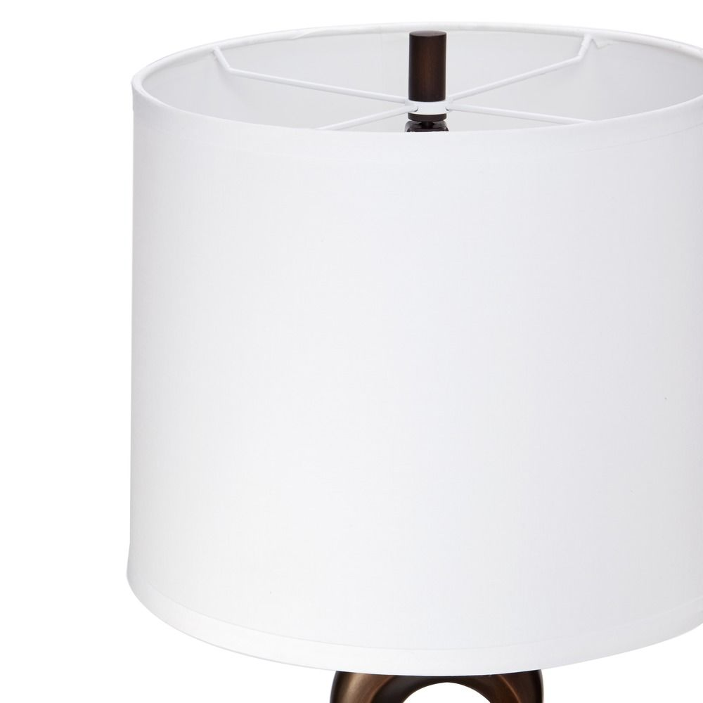 vestige table lamp in antique bronze with white linen drum lamp shade. Black Bedroom Furniture Sets. Home Design Ideas