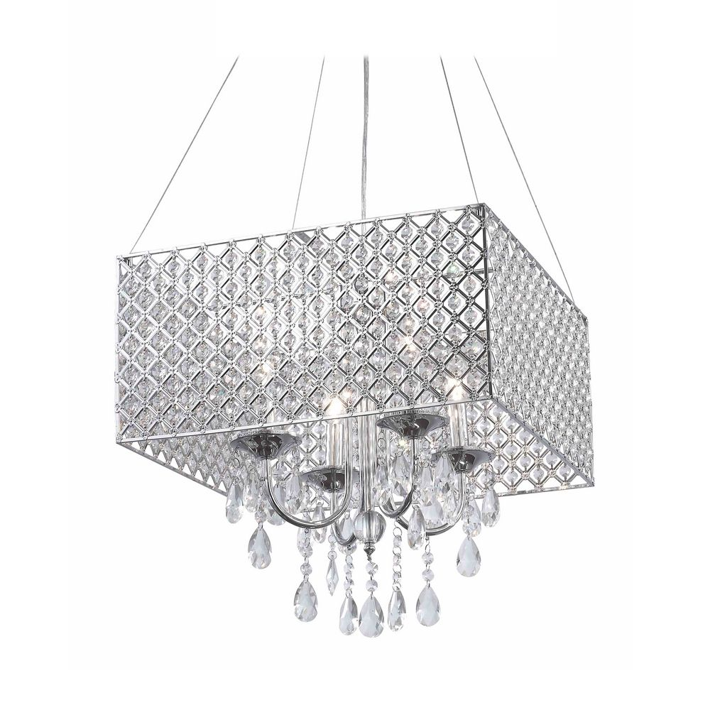 lighting square drum shade crystal chandelier pendant light 2236
