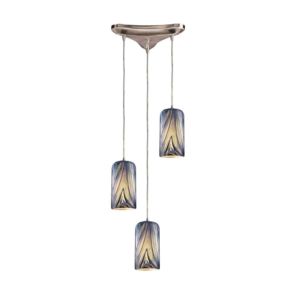 modern multi light pendant light with multi color glass