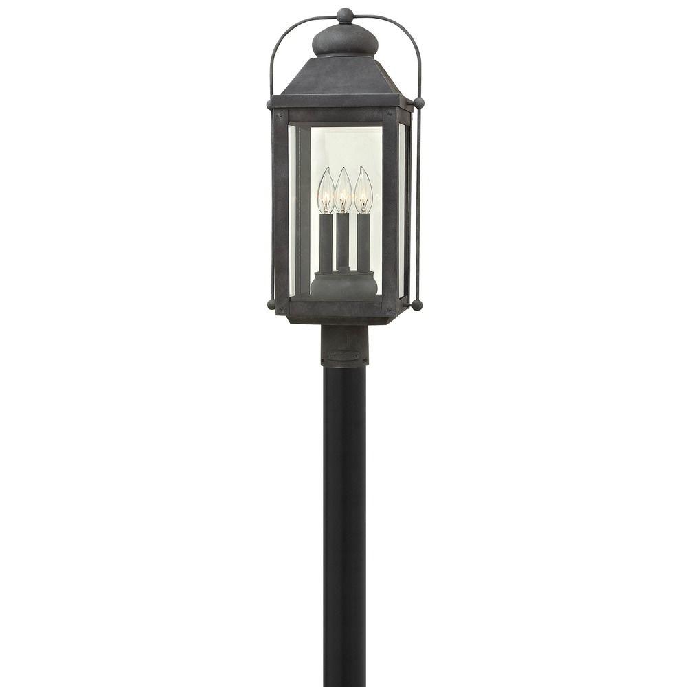 hinkley lighting anchorage aged zinc post light 1851dz