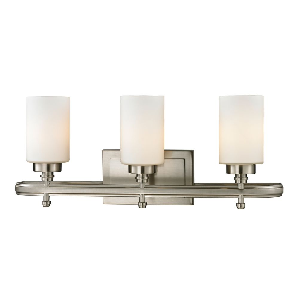 Modern Bathroom Light With White Glass In Brushed Nickel Finish 11662 3 Destination Lighting