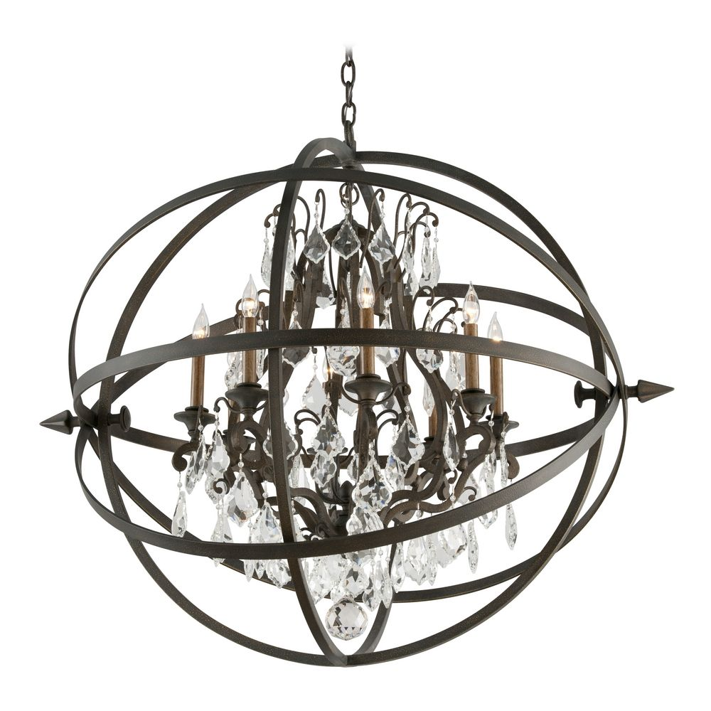 crystal orb chandelier pendant light in vintage bronze finish f2998