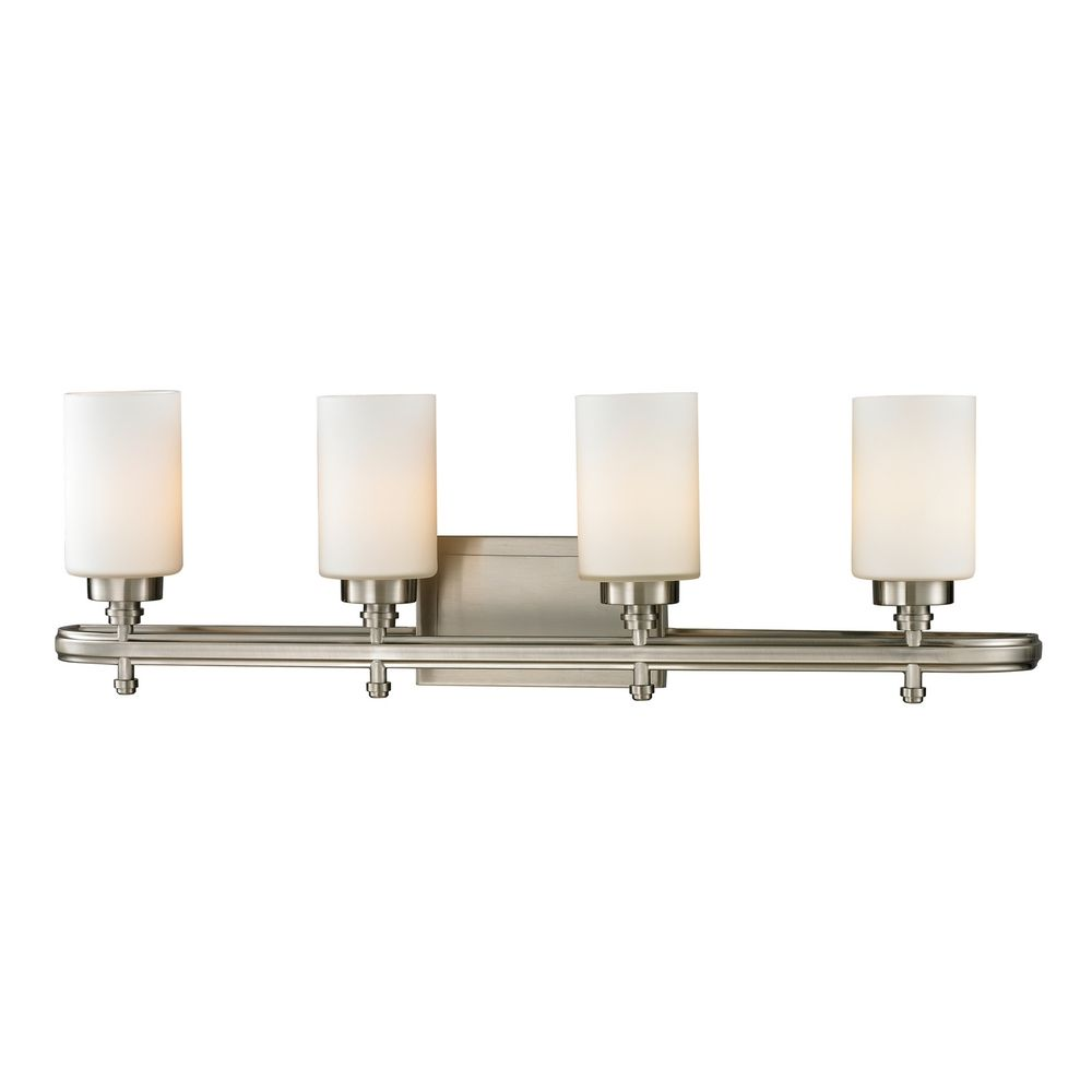 Modern Bathroom Light With White Glass In Brushed Nickel Finish 11663 4 Destination Lighting