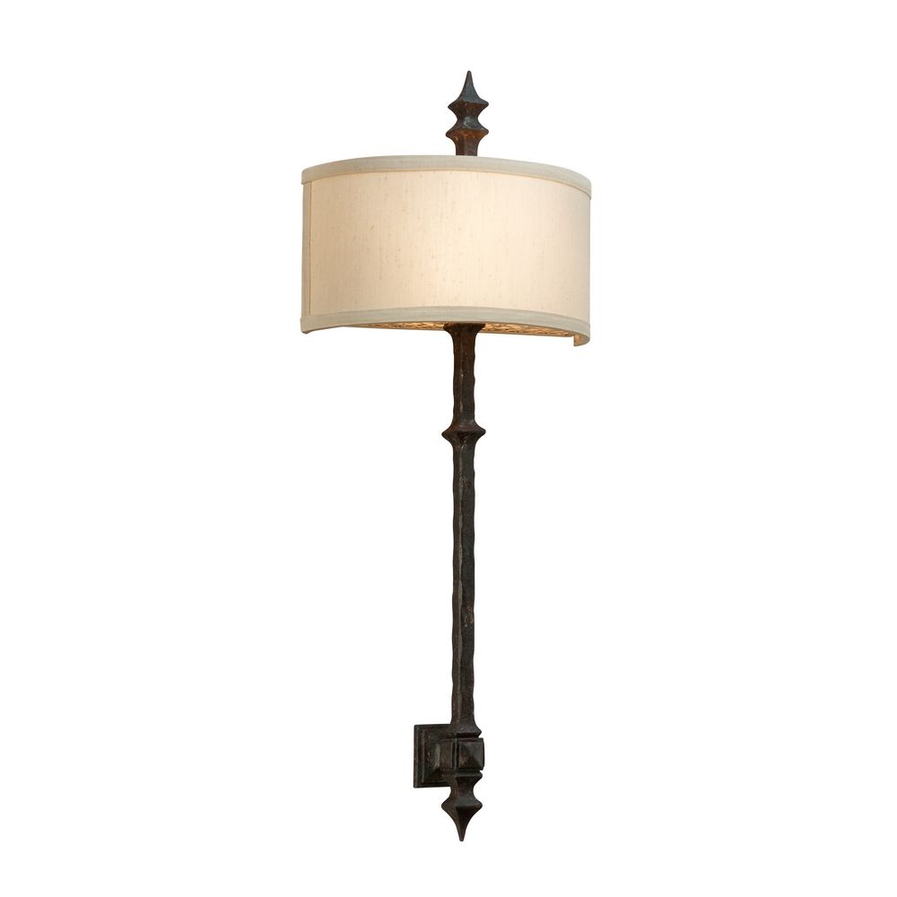Bronze Wall Sconce With Shade : Sconce Wall Light with White Shade in Umbria Bronze Finish B2912 Destination Lighting