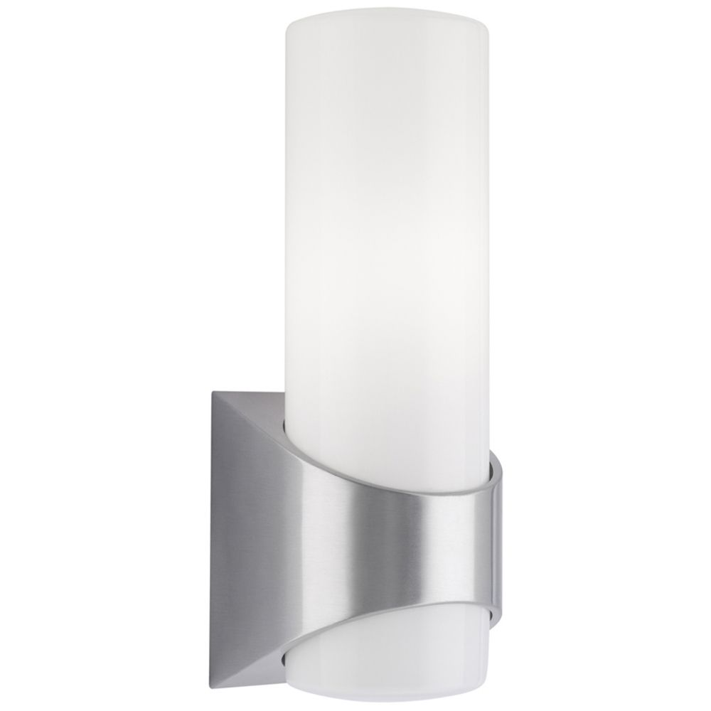 Kichler Modern Outdoor Wall Light with White Glass 9109BA Destination Lighting