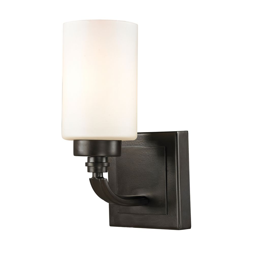 Wall Sconces Bronze Finish : Modern LED Sconce Wall Light with White Glass in Oil Rubbed Bronze Finish 11670/1-LED ...