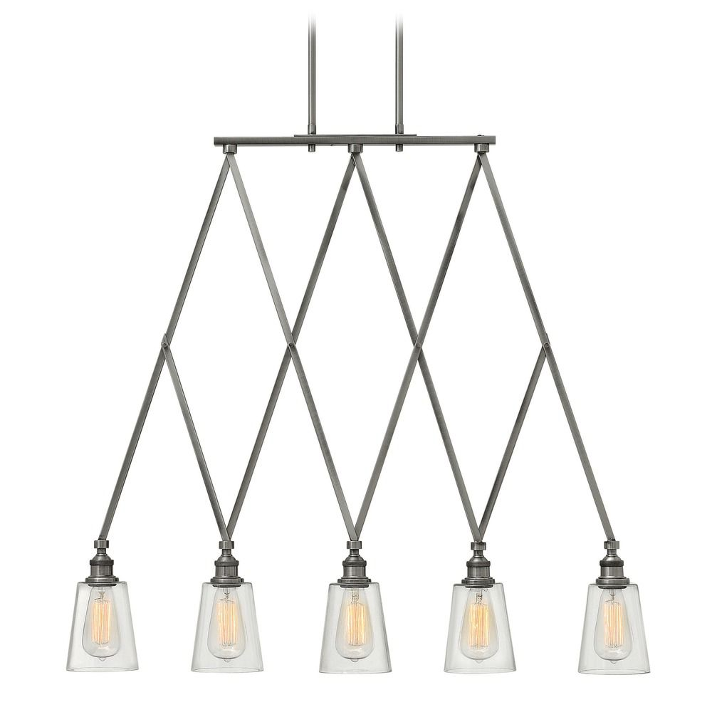 Shown in Polished Antique Nickel finish. Product Image - Hinkley Lighting Gatsby Polished Antique Nickel Chandelier 4935PL