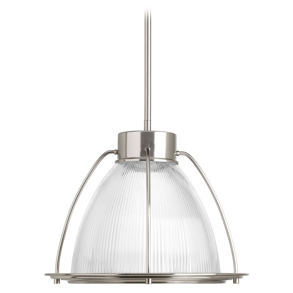 Farmhouse Led Pendant Light Prismatic Gl Brushed Nickel By Progress Lighting At Destination