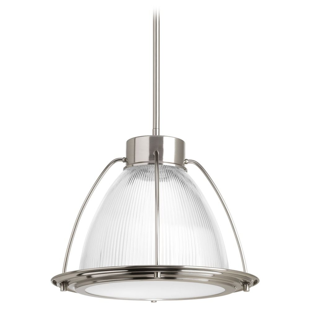 Farmhouse Led Pendant Light Prismatic Glass Brushed Nickel