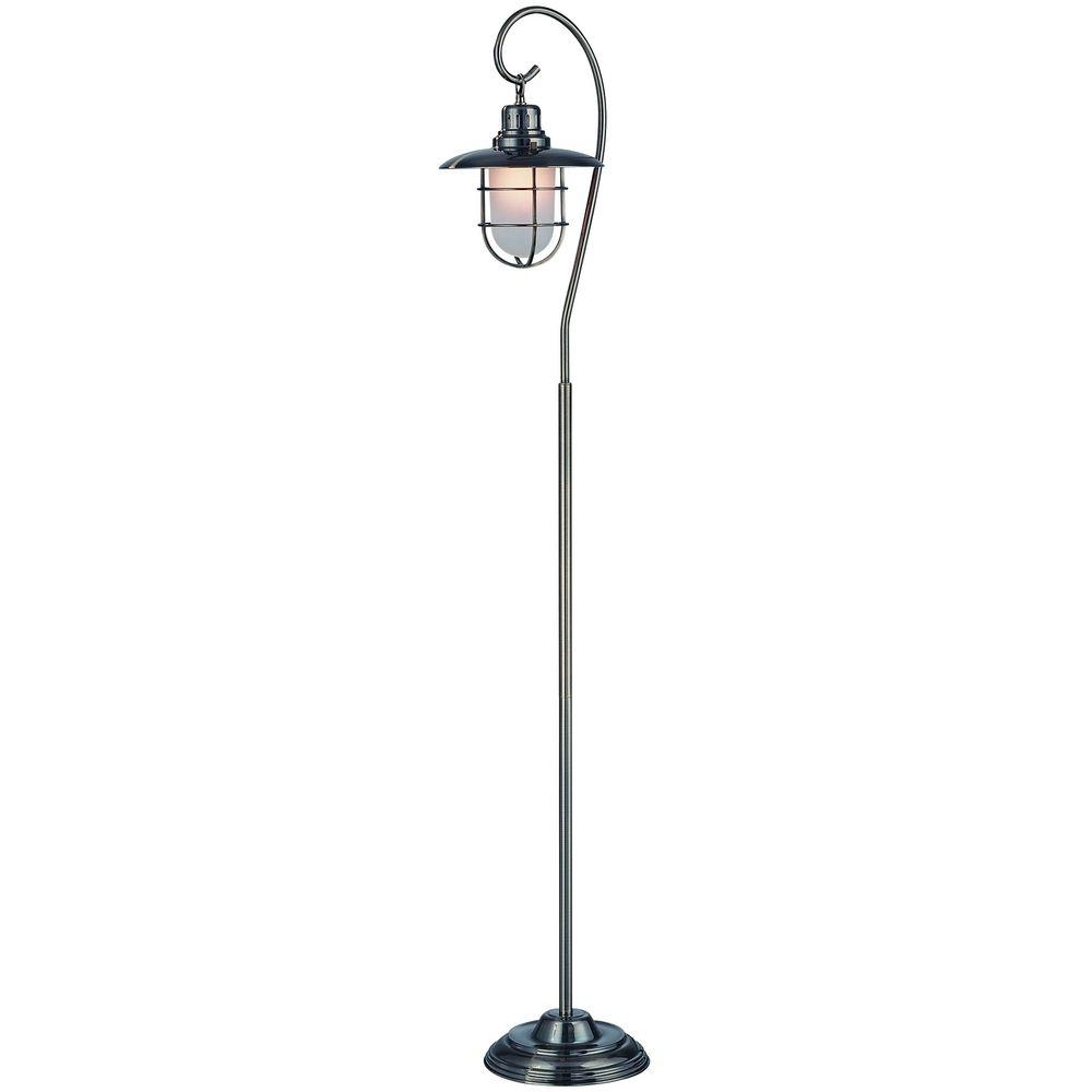 Modern Floor Lamp Brass: Modern Floor Lamp With Clear Glass Shade In Antique Brass