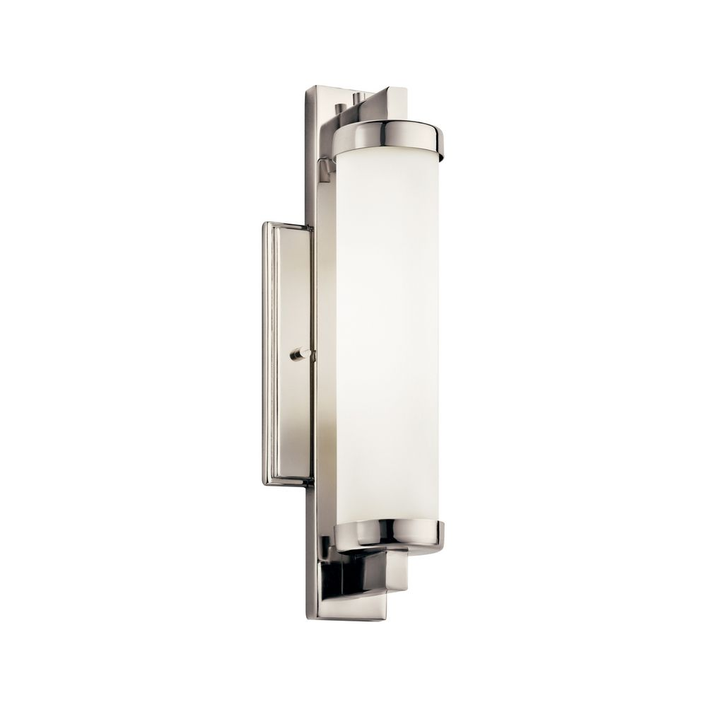 Brushed Chrome Wall Sconces : Kichler Sconce Wall Light with White in Polished Chrome Finish 10481PC Destination Lighting