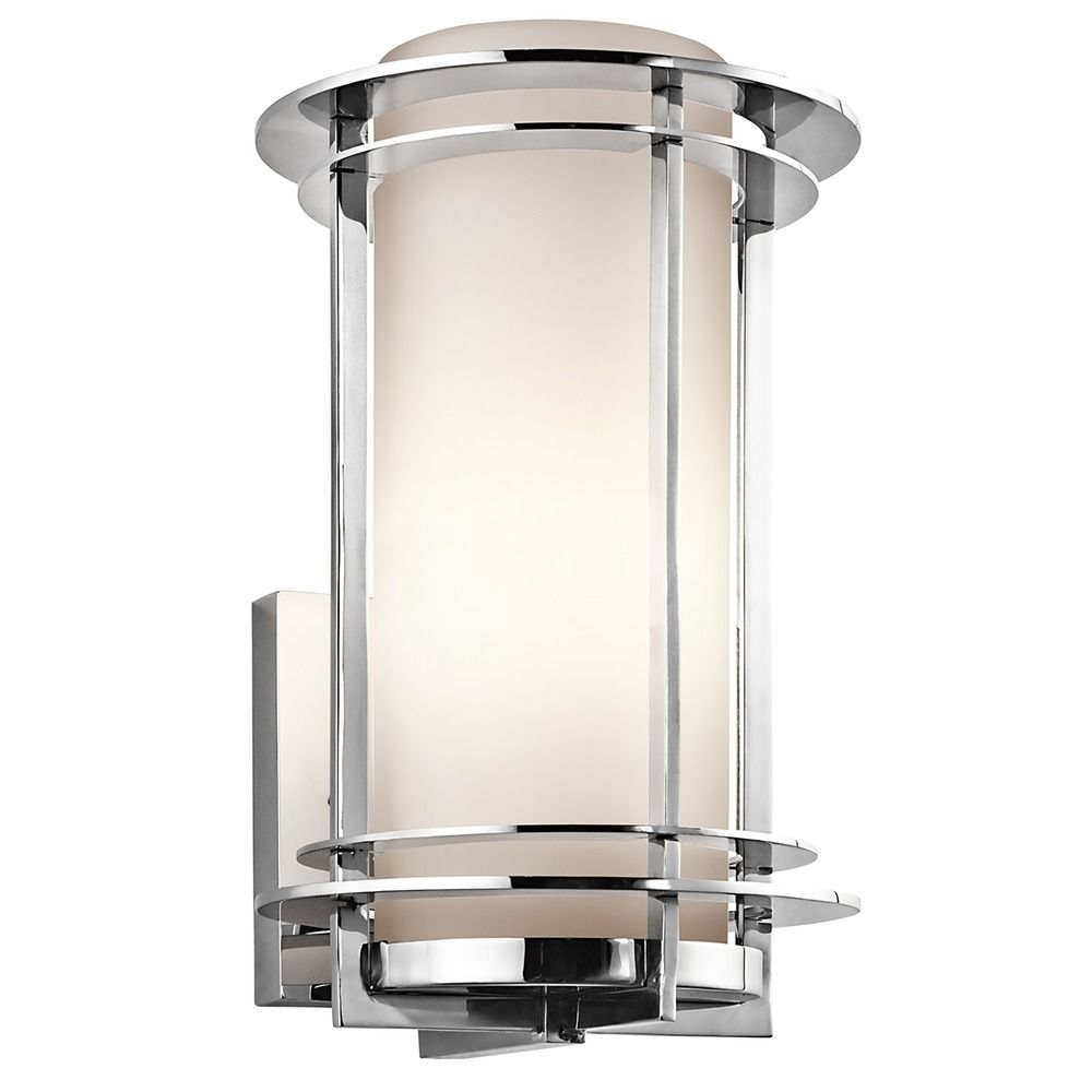 Kichler Outdoor Wall Light With White Glass In Stainless