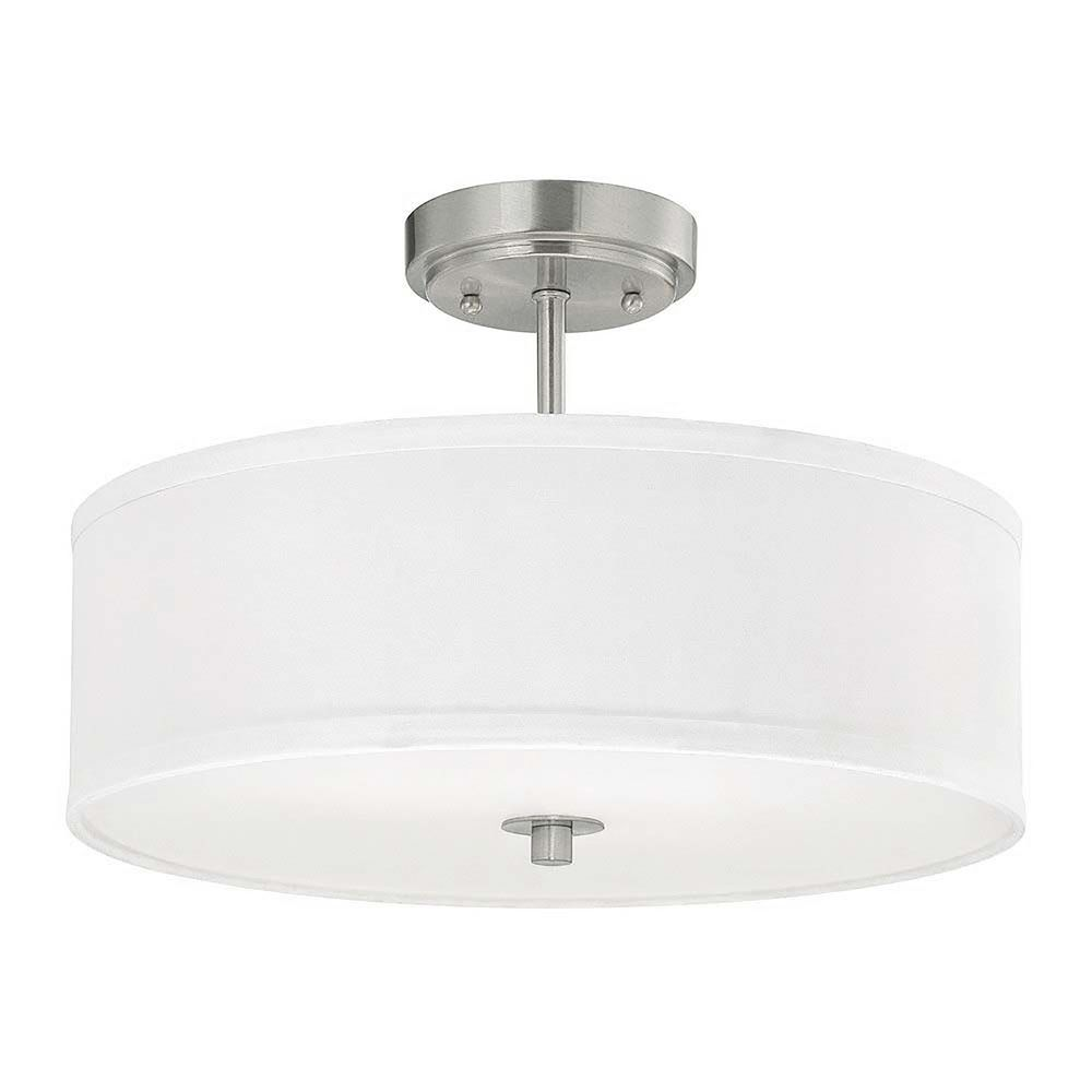 Modern Drum Ceiling Lights : Modern semi flush ceiling light with white drum shade