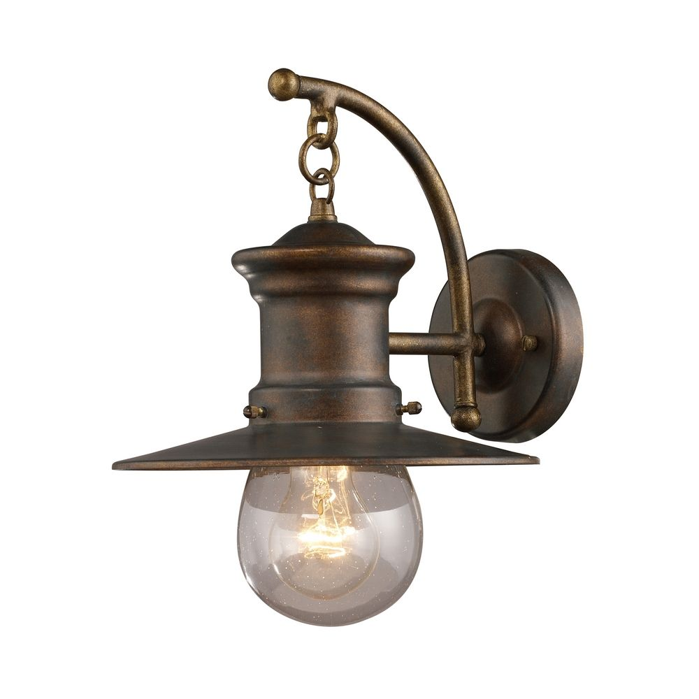 Elk Lighting Seeded Glass Nautical Outdoor Wall Light Bronze 12 Inch 42006