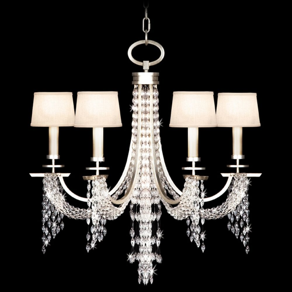 Fine Art Lamps Cascades Warm Silver Leaf Crystal Chandelier - Chandelier leaves crystals