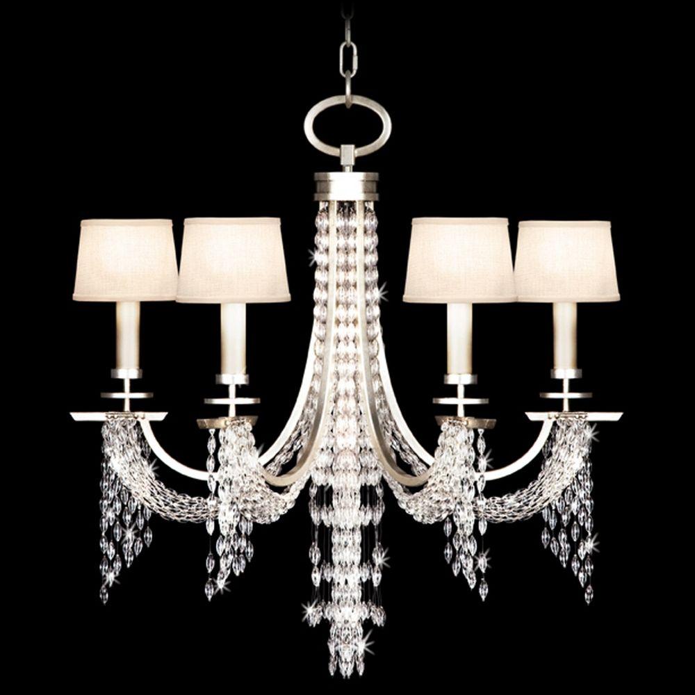 Fine Art Lamps Cascades Warm Silver Leaf Crystal Chandelier - Chandelier leaves crystals