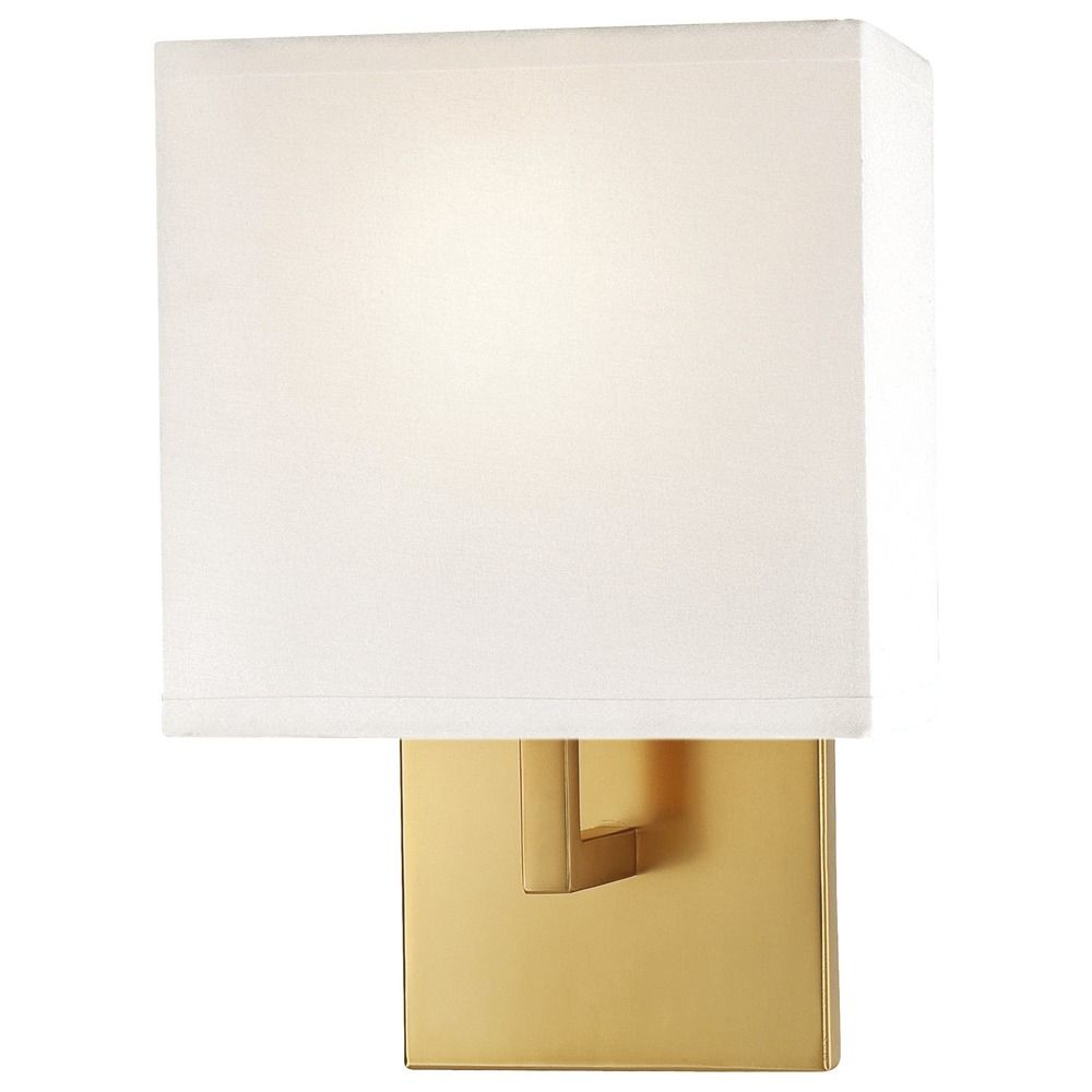 Gold Finish Wall Sconces : Modern Sconce Wall Light with White Shade in Honey Gold Finish P470-248 Destination Lighting