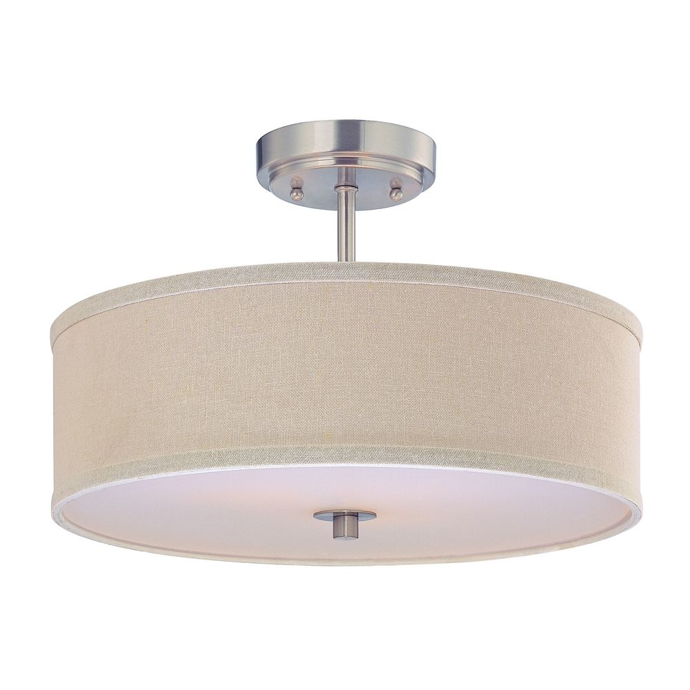 semi flush ceiling light with cream drum shade 16 inches. Black Bedroom Furniture Sets. Home Design Ideas