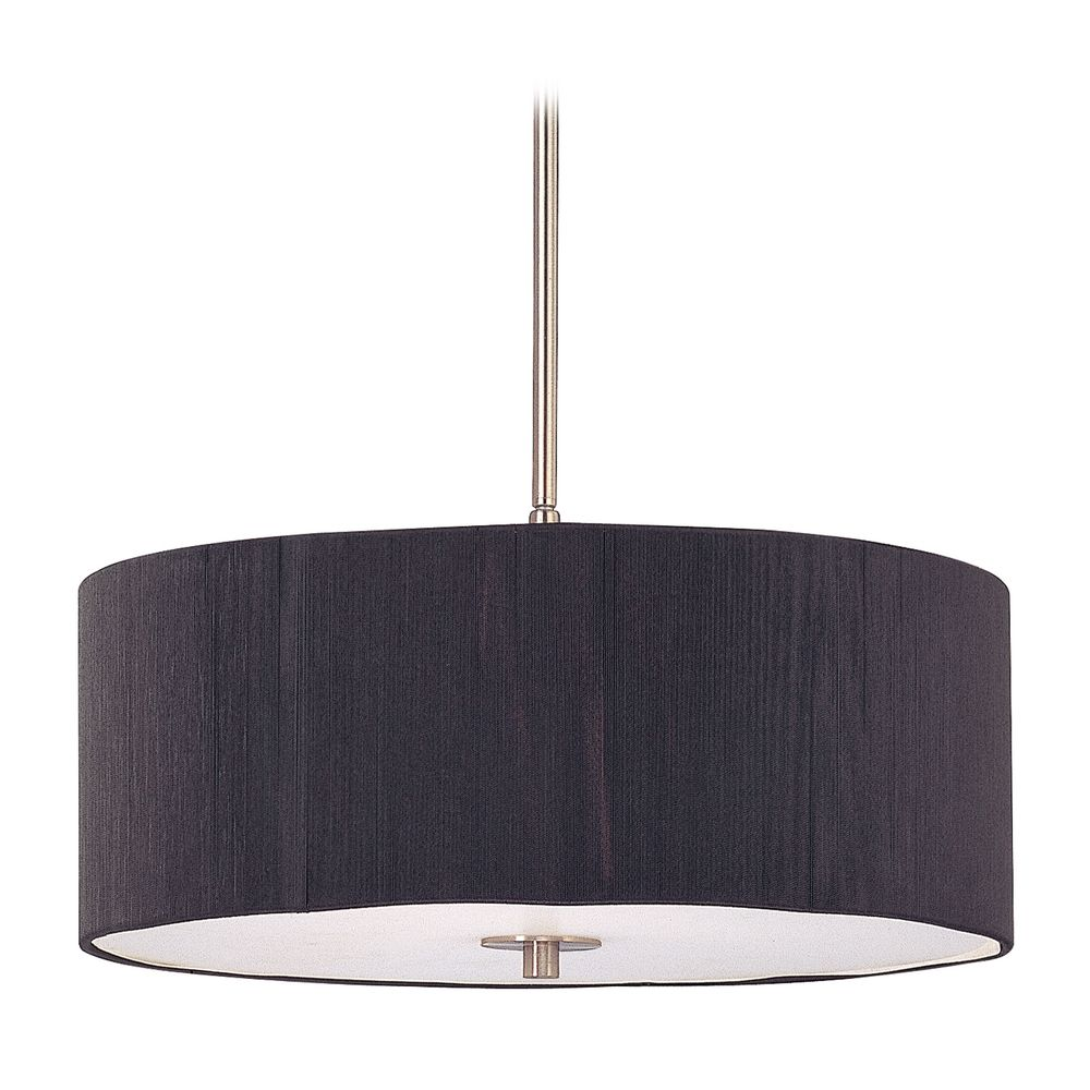 Modern Drum Pendant Light With Black String Shade DCL 6528 09 SH7514 KIT