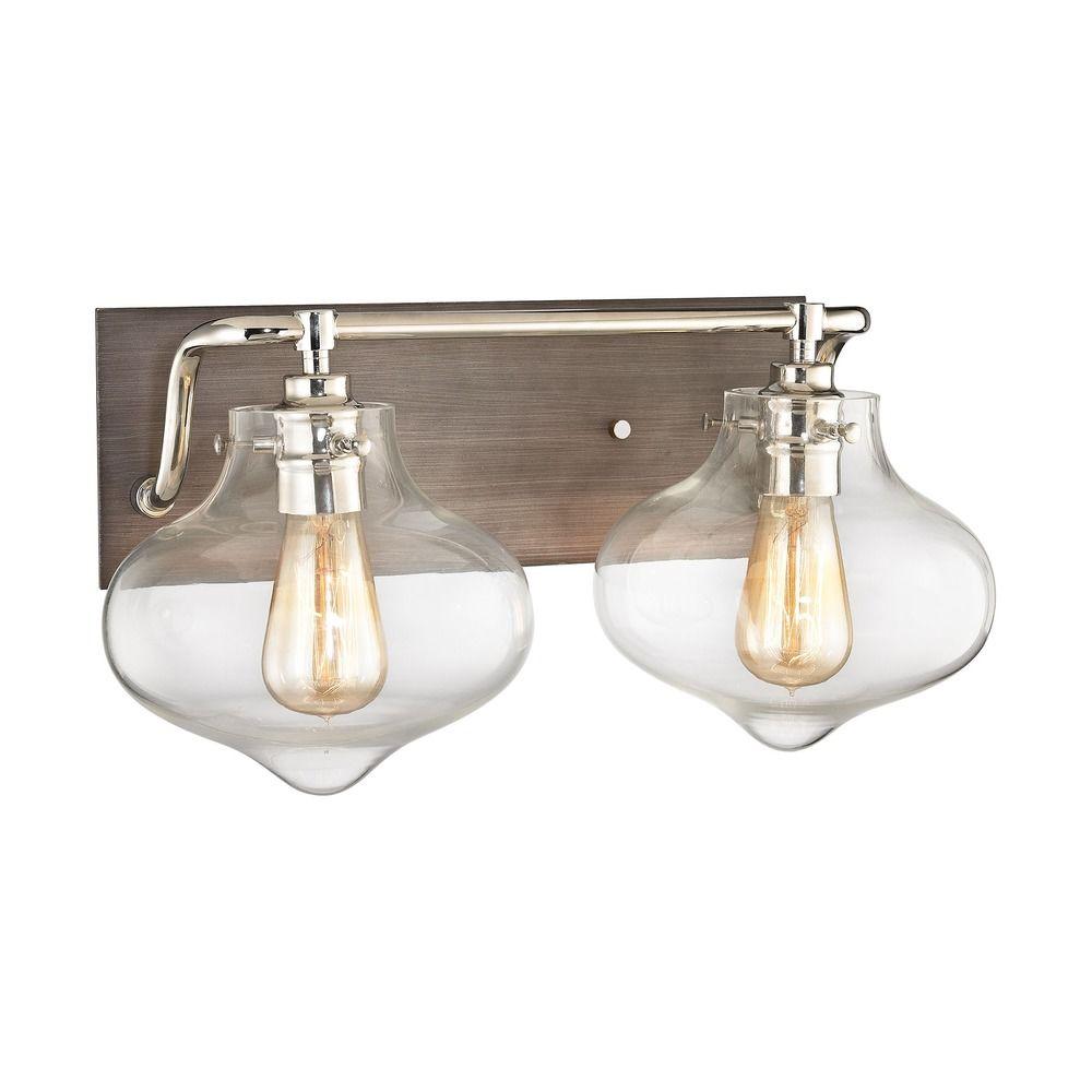 Elk Lighting Kelsey Weathered Zinc Polished Nickel Bathroom Light 31941 2 Destination Lighting