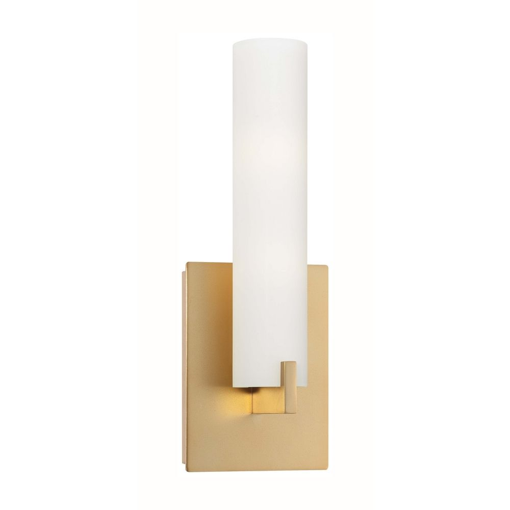 Modern sconce wall light with white glass in honey gold for Gold bathroom wall lights