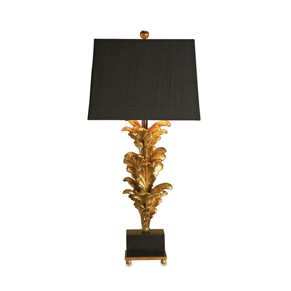 lighting table lamp with black shade in black gold leaf finish 6121. Black Bedroom Furniture Sets. Home Design Ideas