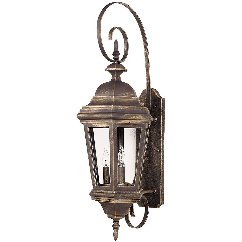 Outdoor Wall Light with Clear Glass in Antique Patina
