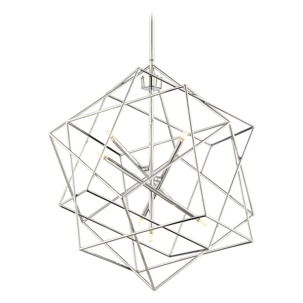 lite source stacia chrome led pendant light with abstract