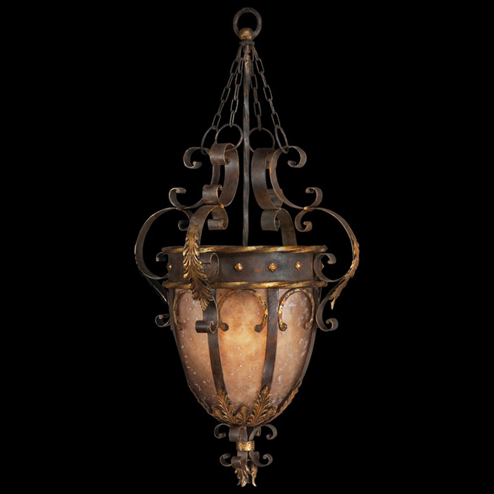 fine art lamps castile antiqued iron with gold leaf pendant light