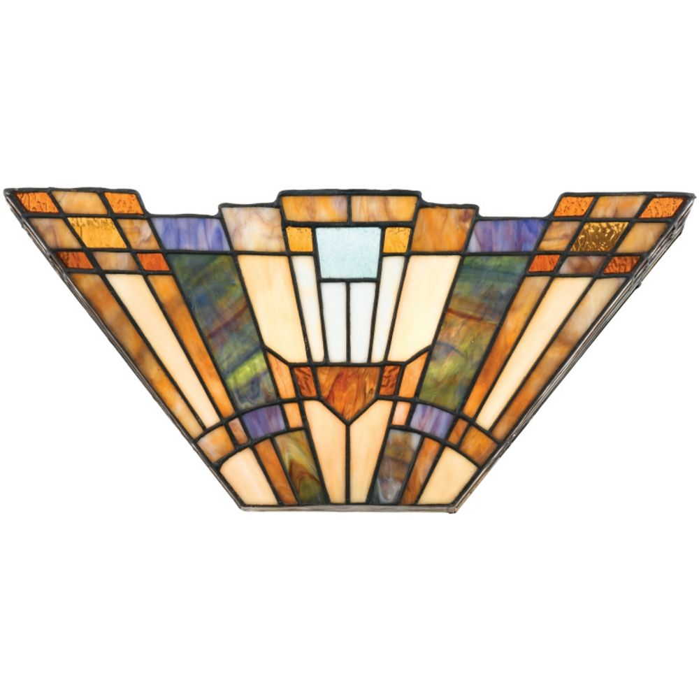 Art Glass Wall Lights: Sconce With Tiffany Glass In Valiant Bronze Finish