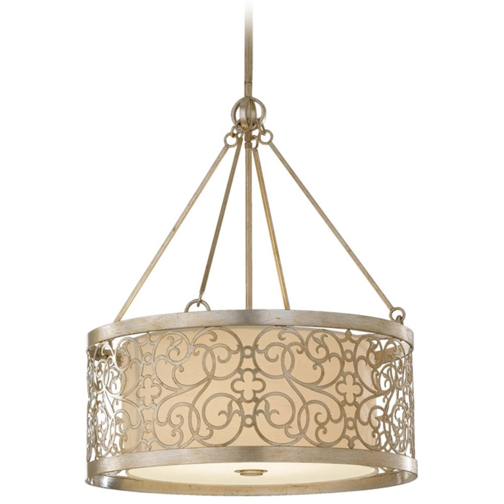 drum pendant light with white shade and metal overlay