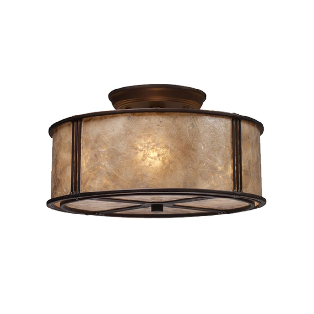 Three-Light Semi-Flush Ceiling Light with Mica Shade | 15031/3 ...